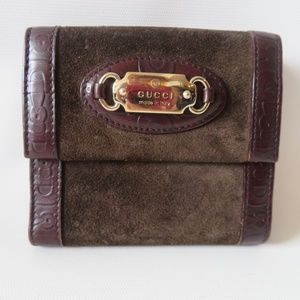 GUCCI BROWN LEATHER SUEDE GOLD 'GUCCI' BAR WALLET